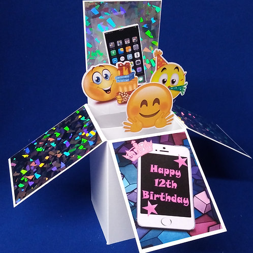 Girls 12th Birthday Card with Mobile Phone