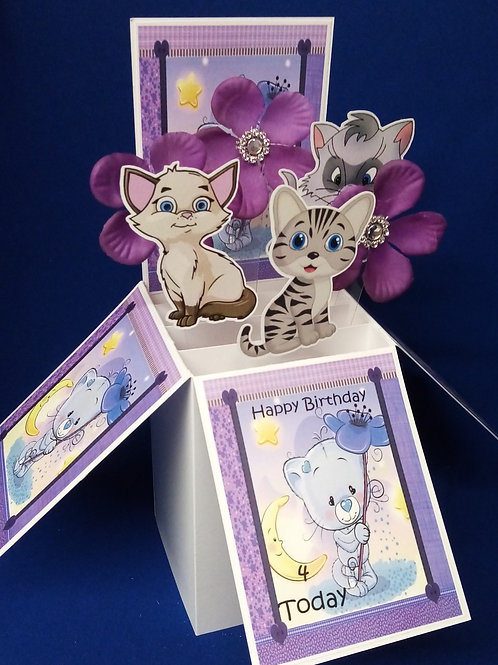 Girls 4th Birthday Card with Cats