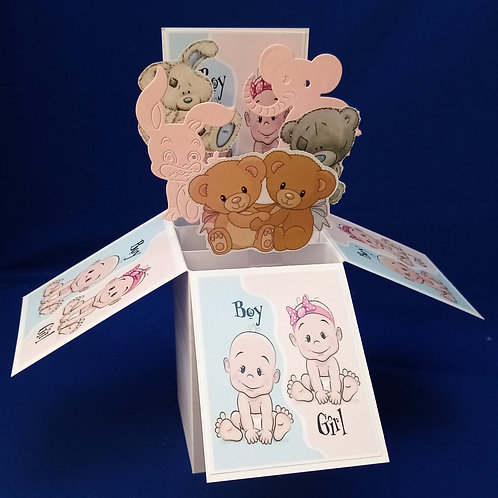 New Baby Twin Boy and Girl Card