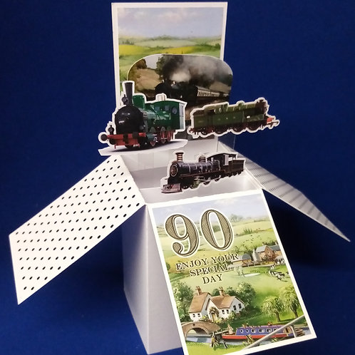 Men's 90th Birthday Card with Steam Trains