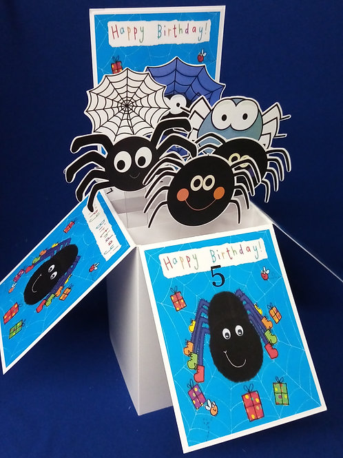 Boys 5th  Birthday Card with Spiders