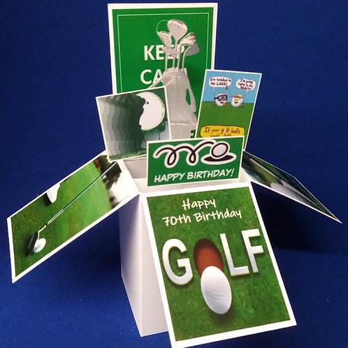 Men's 70th Birthday Card with Golf