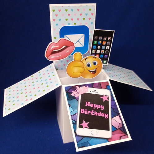 Girls Birthday Card with Mobile Phones