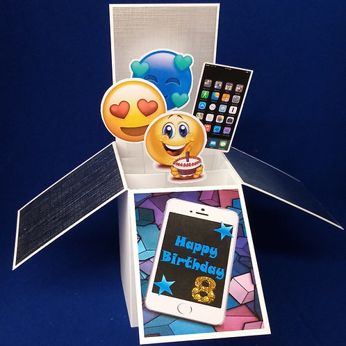 Boys 8th  Birthday Card with Mobile Phones
