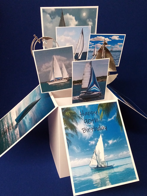 Men's 90th Birthday Card with Boats