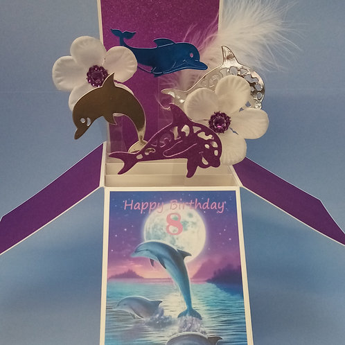 Girls 8th Birthday Card with Dolphins