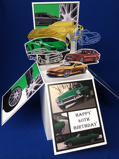 40th Birthday Card with Cars