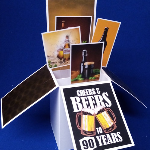 Men's 90th Birthday Card with Beer