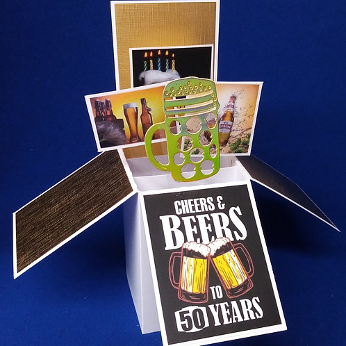 Men's 50th Birthday Card with Beer