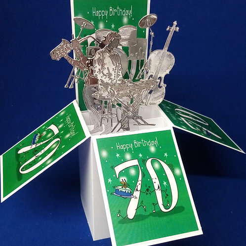 70th Birthday Card with Musical Instruments