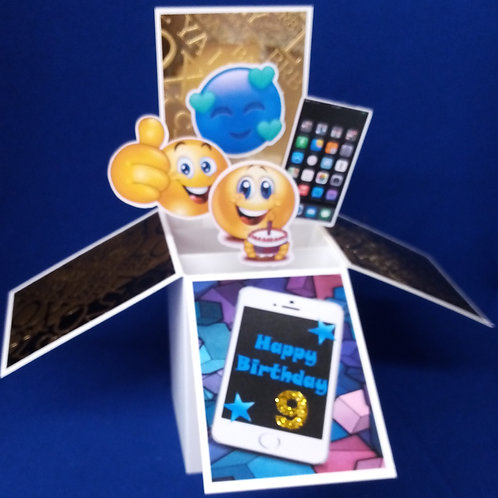 Boys 9th  Birthday Card with Mobile Phones