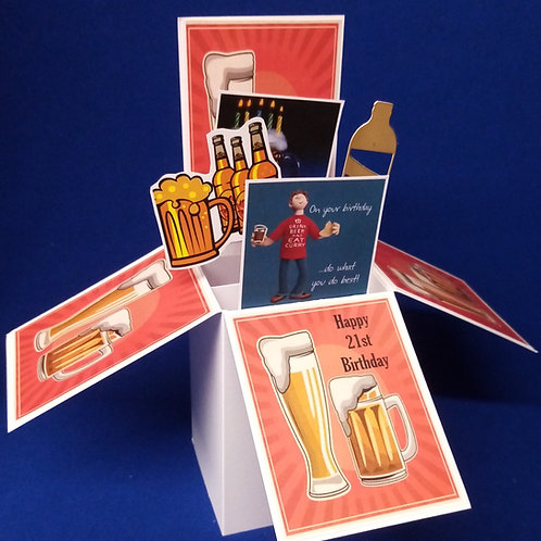 Men's 21st Birthday Card with Beer