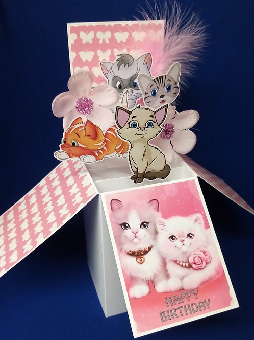 Girls Birthday Card with Cats
