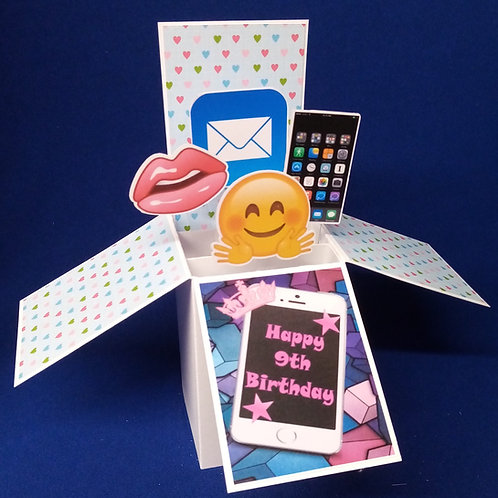 Girls 9th Birthday Card with Mobiles