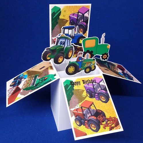 Boys Birthday Card with Tractors