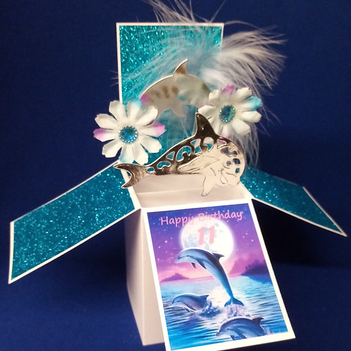 11th Birthday Card with Dolphins