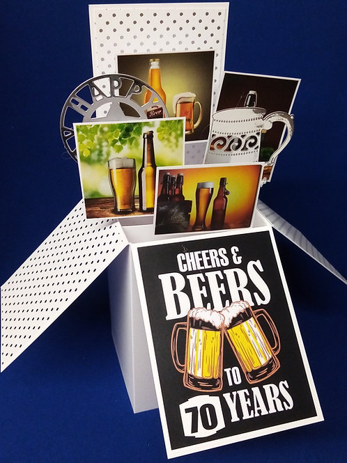 Men's 70th Birthday Card with Beer