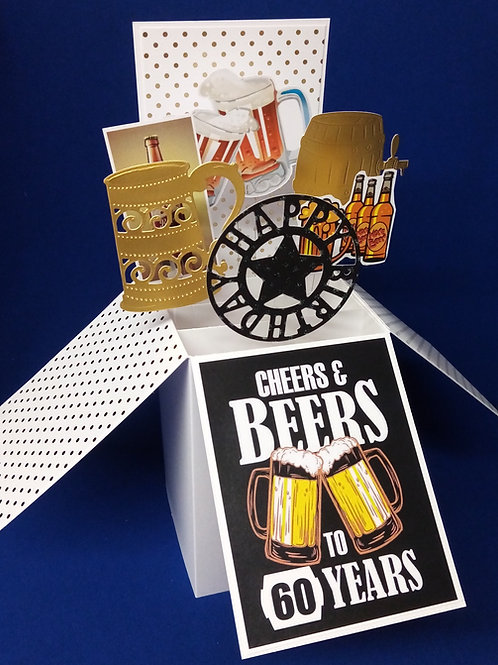 Men's 60th Birthday Card with Beer