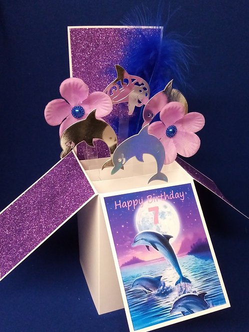 Girls 7th Birthday Card with Dolphins