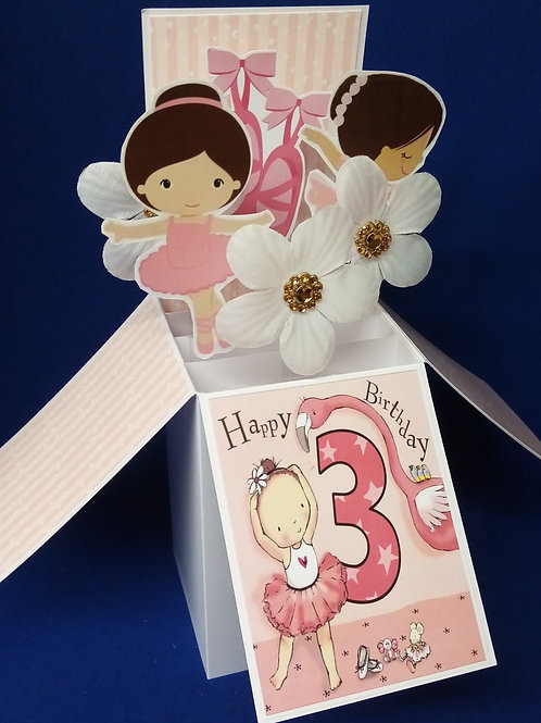 Girls 3rd Birthday Card with Ballet
