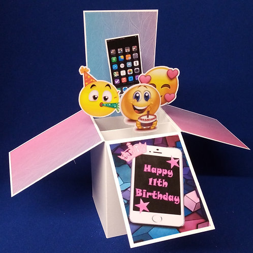 Girls 11th Birthday Card with Mobile Phones