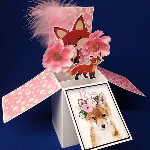 Girls 12th Birthday Card with Foxes
