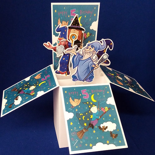 Boys 5th Birthday Card with Wizards