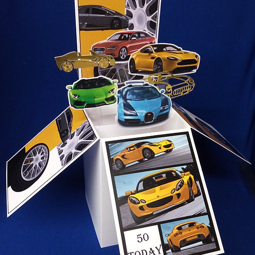 Men's 50th Birthday Card with Cars