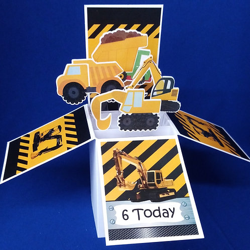 Boys 6th  Birthday Card with Diggers