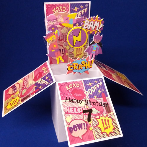 Girls 7th Birthday Card with Super heroes