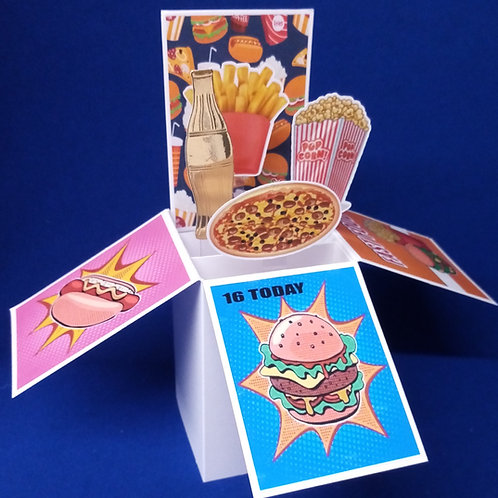 16th Birthday Card with Fast Food