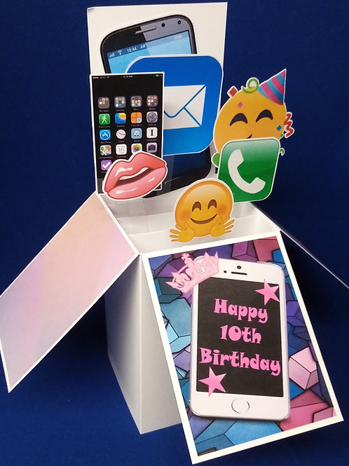Girls 10th Birthday Card with Mobile Phones