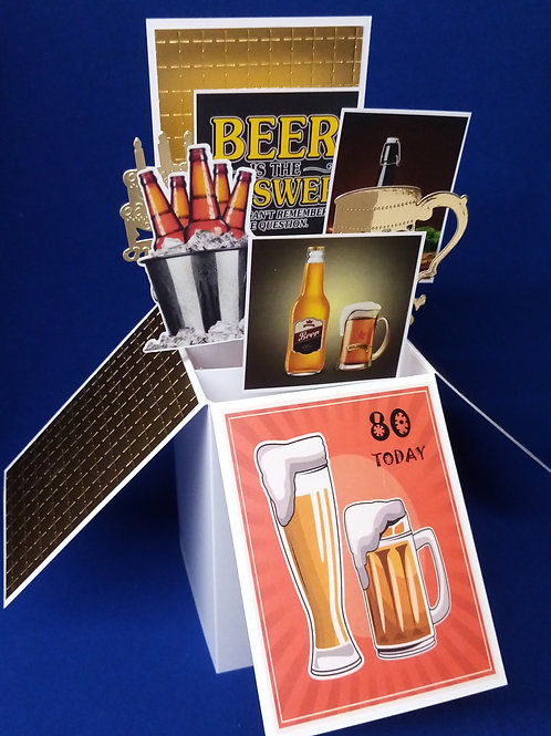 Men's 80th Birthday Card with Beer