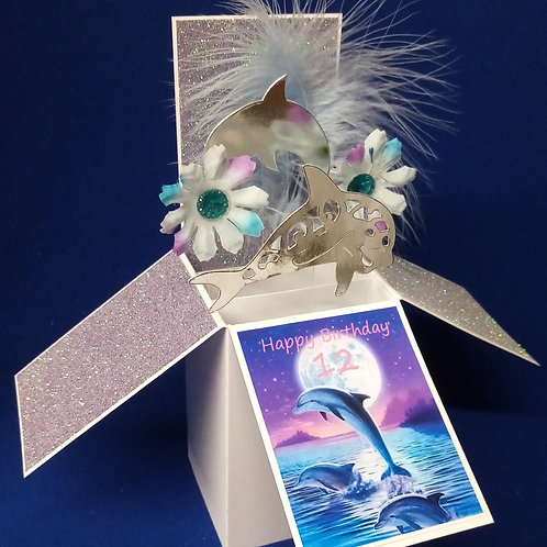 Girls 12th Birthday Card with Dolphins