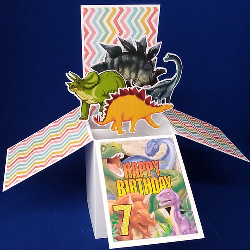 7th  Birthday Card with Dinosaurs