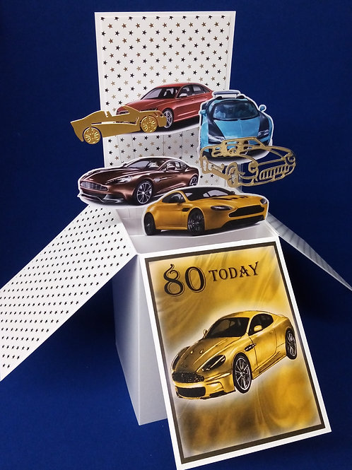 Men's 80th Birthday Card with Cars