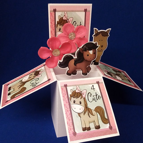 Girls 4th Birthday Card with Horses