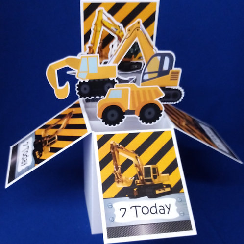 Boys 7th  Birthday Card with Diggers