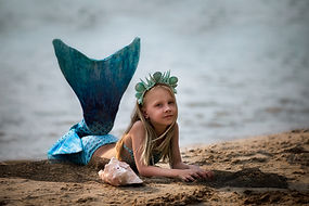The little dream mermaid girl on the bea