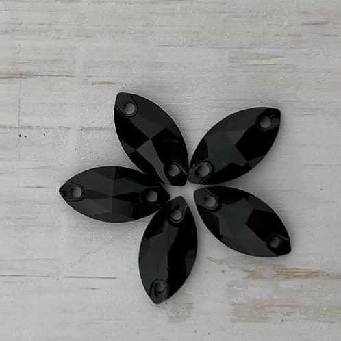 Jet Black Crystal Navette - 12mm x 6mm