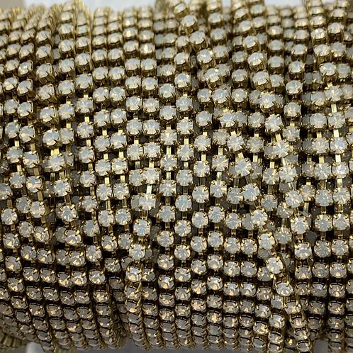 White Opal in Brass - 8.5ss Metal Banding