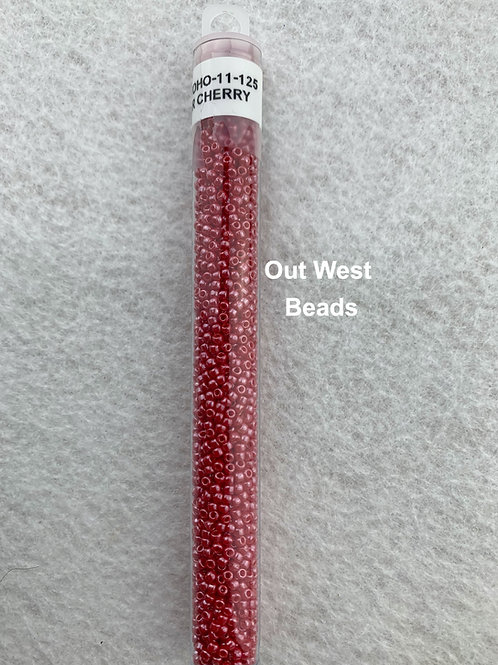 Size 11 Seed Beads Opaque Luster Cherry - 125