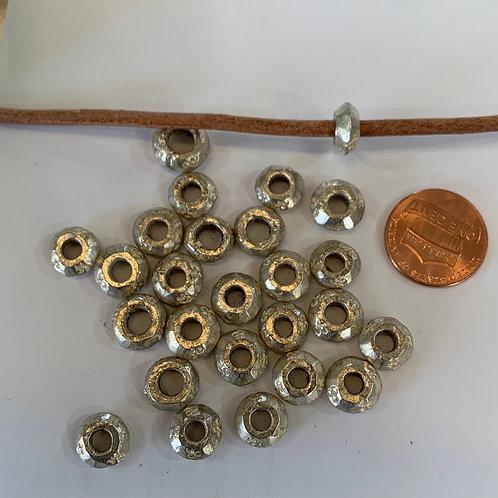 White Brass Large Hole Beads