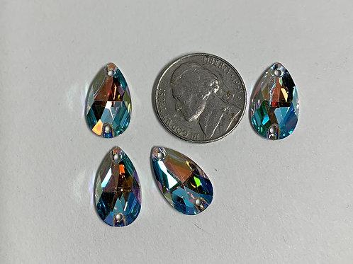 Crystal AB Pear Flat Backs 18 x 10mm