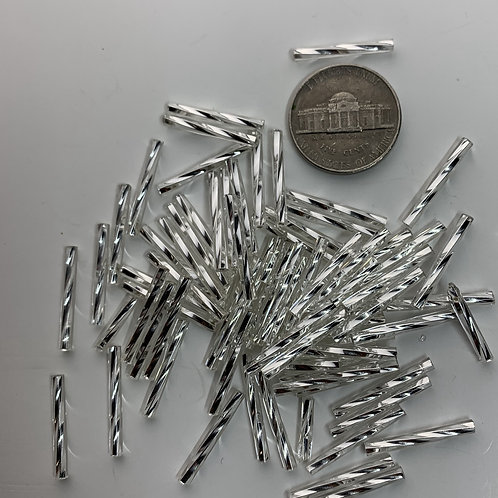 Silver Line Crystal 20mm Twist Bugles - 20003