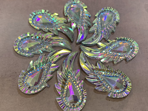 Crystal AB Resin Leaf Center - 17 x 36mm