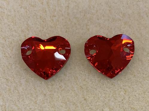 Swarovski 12mm Hearts Light Siam