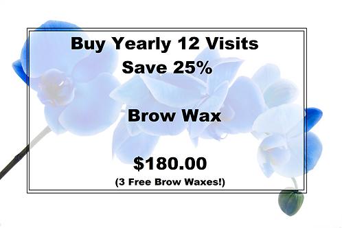 Brow Wax Yearly--3 Free Brow Waxes