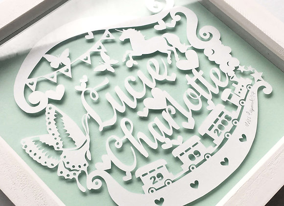 Bespoke Girls Name Framed Papercut