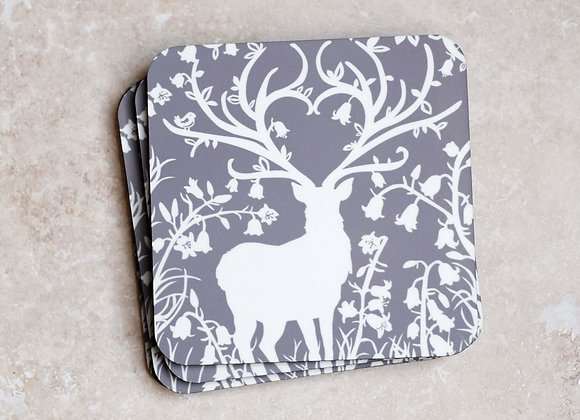 Grey Stag Coasters - Pack of 4